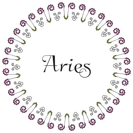 A round frame with the inscription Aries in the center on a white background. Emblem of the zodiac sign. For astrological banners, cards, posters and horoscope designs. Symbols drawn by hand. 向量圖像
