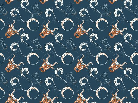 Seamless pattern for the zodiac sign Taurus. Hand-drawn vintage astrological symbols. Ornamental heads of bulls, constellations and pictograms. For fabric, textile, clothing, wrapping paper. Vector. 向量圖像