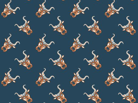Seamless pattern of hand-drawn mystical heads of bulls hand-drawn on a dark background. Symbols of the zodiac sign Taurus. Cattle. Orange and cream colors. For fabric, clothing, wrapping paper. Vector 向量圖像