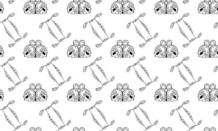 Black and white seamless pattern for the zodiac sign Gemini from vintage doodles. Pair of female heads in patterns and hand-drawn astrological symbols. Monochrome texture for textile, clothes. Vector.