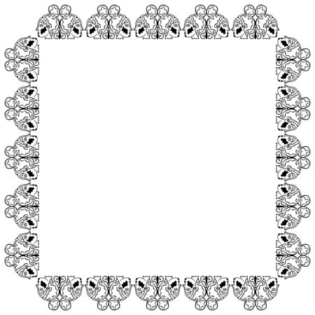 A square black and white frame of pairs of female heads in profile with abstract patterns rotated in different directions. Place for text. Greek and indian style. Gemini zodiac sign symbol. Vector. Ilustração