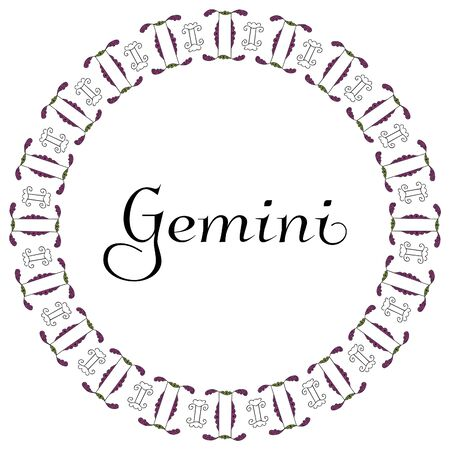 Round astrological emblem from hand-drawn doodles with the zodiac inscription Gemini in the center on a white background. Indian and greek style. For design, banner, postcard, poster, emblem. Vector. 向量圖像