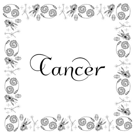 A square isolated black and white zodiac frame with the inscription Cancer in the center. Hand-drawn doodles. Constellations, crayfish, stars and emblems. For banner, postcard, poster, etc. Vector.