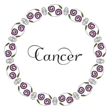 Round zodiacal emblem with the inscription in Cancer center, symbolizing the zodiac sign drawn by hand on a white background. Black, green and lilac colors. Vector.