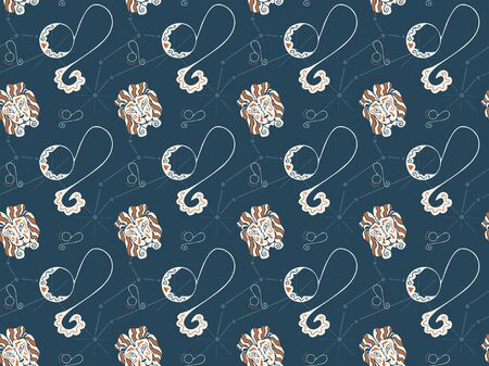 Seamless pattern on the theme of the zodiac sign Leo on a dark background. Astrological symbols. Hand-drawn lion heads, constellations and pictograms. For fabric, textile, wallpaper, clothes. Vector.