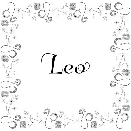 Astrological square isolated black and white zodiac frame from hand-drawn doodles with the inscription Leo in the center. Monochrome banner, postcard, poster, flyer, coloring book, etc. Vector. 向量圖像
