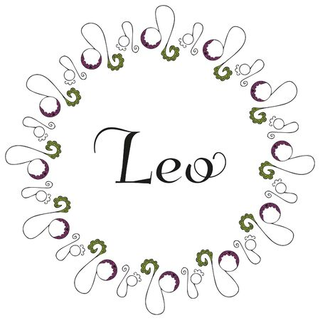 Round isolated emblem of the zodiac sign Leo with the inscription in the center, symbolizing the zodiac sign drawn by hand on a white background. Zodiacal flares. Black, green and lilac colors. Vector