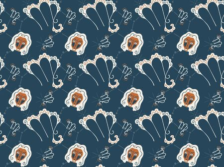 Seamless pattern symbolizing the zodiac sign Leo from hand-drawn astrological elements. Zodiacal emblems, constellations and female heads. Orange, cream and gray-green colors. Vector