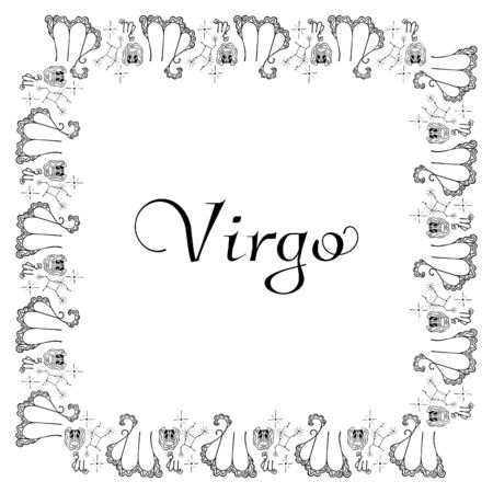 Black and white banner for the zodiac sign Virgo. A square frame of hand-drawn ornamental doodles of female heads, emblems, stars, constellations and an inscription in the center. Vector.