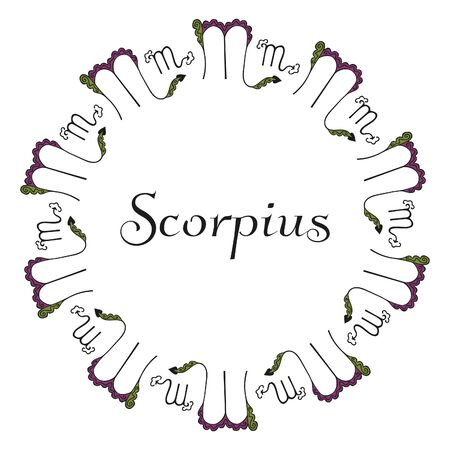 Round zodiac emblem of the zodiac signs Scorpius with elegant inscription in the center on a white background. Vintage circle from hand-drawn astrological symbols. For greeting card, banner. Vector.