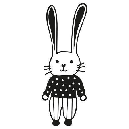Cute black and white rabbit dressed in striped pants and a polka dot sweater. Easter Bunny. Scandinavian-style isolated simple childish doodle hare. Hand drawing. Vector.