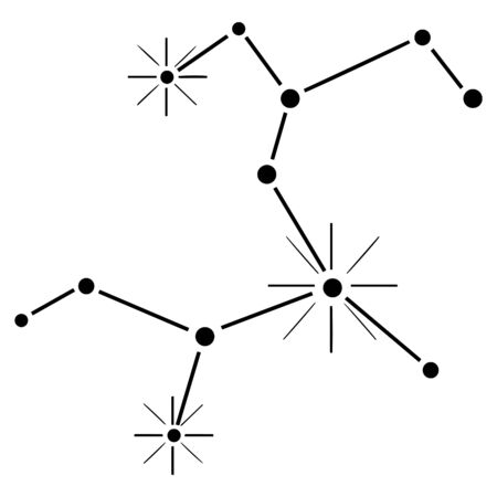 Hand-drawn black constellation Sagittarius on a white background. Isolated astronomical zodiac structure. For the design of horoscopes, textbooks, booklets, etc. Vector.