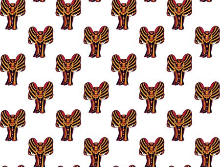 Seamless pattern of hand-drawn indian elephants in red, orange and black colors on a white background. For fabric, clothing, wallpaper, design. Vector. Illustration