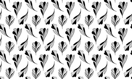 Seamless pattern of hand-drawn abstract meditative black flowers decorated with stripes on a white background. For clothes, fabrics, wallpapers, textiles, wallpapers. Vector.