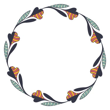 Round frame of wreath made of hand-drawn half black and colorful and striped symbolic flowers with stem and leaves on a white background. Place for text. For invitation, card, logo, banner. Vector. Vettoriali