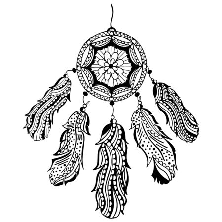 Black and white hand-drawn dream catcher with feathers and beads. Native American traditional tribal symbol. Isolated indian amulet. For coloring book, tattoo, print, decor. Vector. Illusztráció