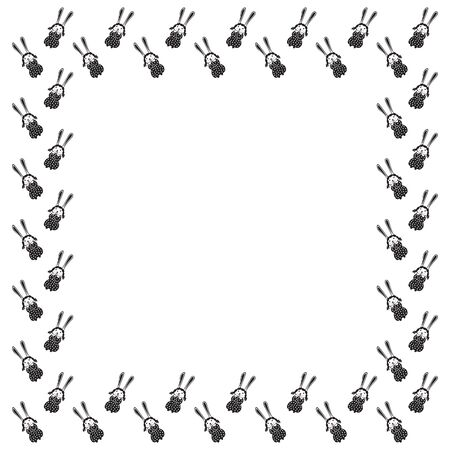 A square frame of cute hand-drawn hare girls in polka dot dresses and plaits on a white background. Border of charming easter bunnies. Template for text from children's doodles. Vector.