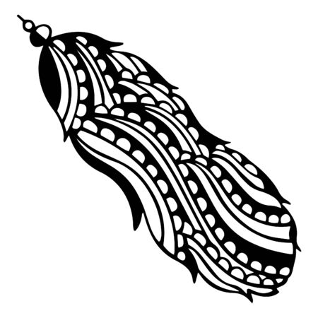 Hand-drawn black and white abstract bird feather with decorative beads on the end. Doodle style. Vector. Ilustrace