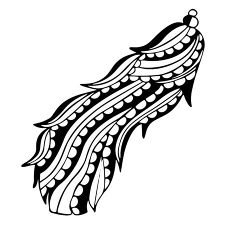 Patterned curved bird feather in black and white with oblique stripes and semicircular inlays. Freehand drawing for a childish or meditative for coloring book, decal or tattoo. Vector. Иллюстрация