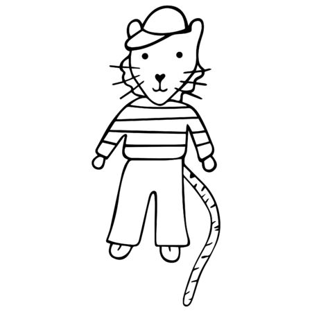 Black and white hand-drawn tiger cub in a cap, striped sweater and trousers. Children's drawing for coloring book. Vector.