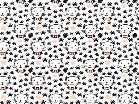 A seamless pattern of cute hand-drawn portraits of cats with rosy cheeks in a Scandinavian-style collar and bow tie, abstract blots and black footprints of feline representatives.