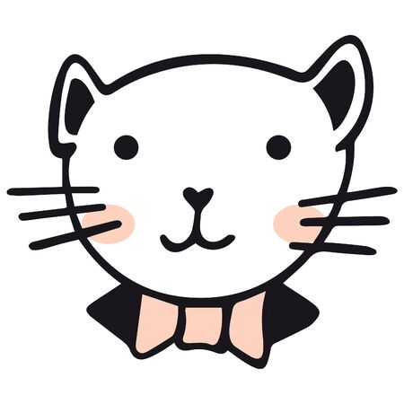 Cute hand-drawn portrait of a cat with rosy cheeks in a collar and a bow tie in the Scandinavian style on a white background. Cat face for baby products, stickers, prints on t-shirts, etc.