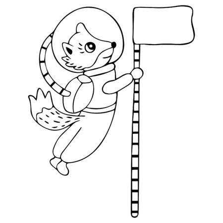 Black and white smiling fox or dog in a spacesuit and a sticking tail flies in zero gravity and holds the flag. Isolated hand-drawing on a space theme. Animal-cosmonaut. For kids coloring page. Vector