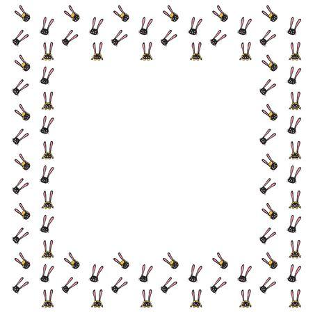 Cadre carré de visages mignons dessinés à la main de garçons et de filles de lapins sur fond blanc. Bordure isolée avec un espace vide pour le texte. Portraits noirs de lapins aux oreilles et aux joues roses. Vecteur. Vecteurs