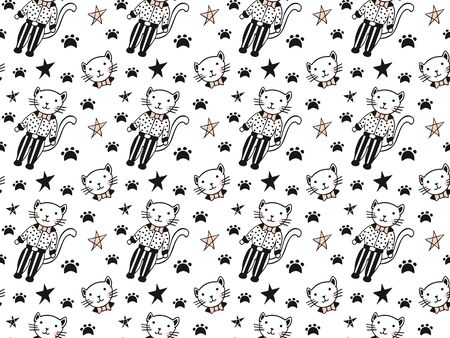 Seamless pattern of black and pink cats in polka dot shirts and striped trousers, their faces with bow ties, stars and feline footprints on a white background. Vector.
