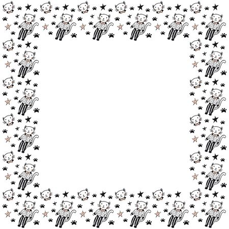 Square isolated frame of black and pink cats in polka dot shirts and striped trousers, their faces with bow ties, stars and feline footprints on a white background. Rectangular blank template. Vector. Illustration