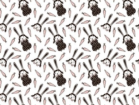 Seamless pattern of cute rabbit girls with a blush on their cheeks in children's black polka dot dresses, their portraits with pigtails and collars, pink carrots on a white background. Vector.
