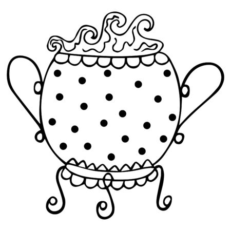 Black and white witchcraft theurgical witch cauldron with magic potion boiling in it. Isolated elegant mystical coloring doodle, decorated with circles. Ancient utensil. Cast iron pot. Vector.