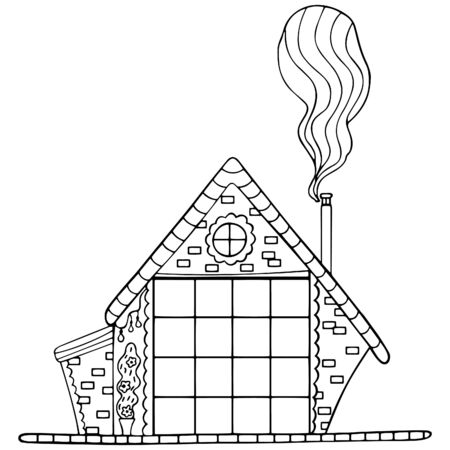 Black and white rustic house with scandinavian-style chimney smoke. A hut with a brick wall and a flower bush in a pot. Coloring book antistress, design element for printing. Vector.