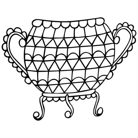 Elegant patterned vintage cauldron with arms and legs in black and white. Floor vase on coasters decorated with geometric shapes. Exquisite household utensils. Hand drawing. Vector.