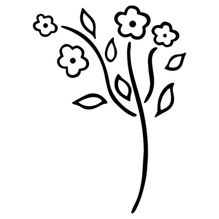 Black and white stylized forget-me-not with four blossoming buds and leaves. Abstract beautiful flowering garden and wild flower. Floral doodle Vector.