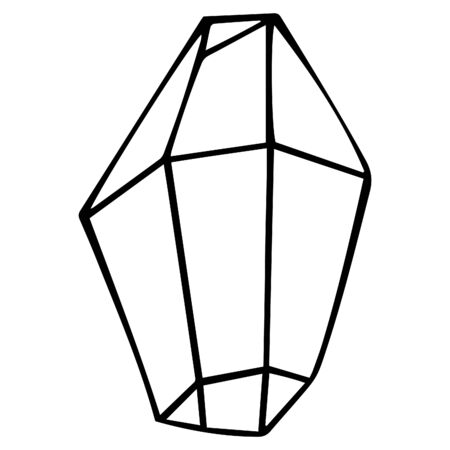 Natural black and white crystal isolated. Hand drawing. Occult and esoteric symbol. Magic artifact. Vector. Vektorgrafik