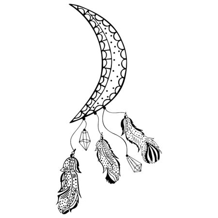 Black and white ornamental crescent moon with crystals and bird feathers in the style of boho and suspended from below. Hand drawing. Coloring book, tattoo, print. Vector.