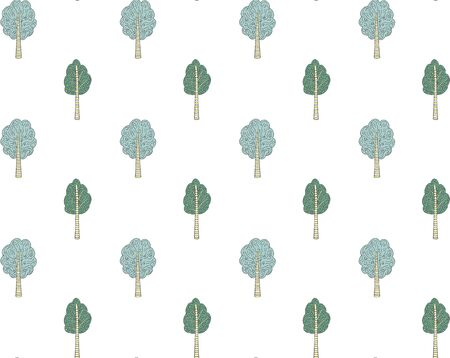 Seamless pattern of hand-drawn ornamental trees stylized in Scandinavian style in green and yellow colors on a white background. Woody organic endless texture for wallpaper, textile, etc. Vector. Vecteurs