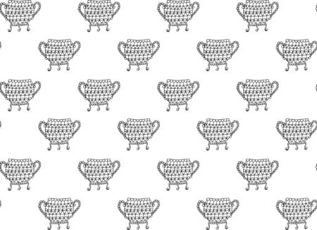 Seamless pattern of black contour elegant ornamental vintage cauldrons with arms and legs on a white background. Floor vases on coasters decorated with geometric shapes. Hand drawn texture. Vector.