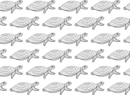 Seamless pattern of ornamental sea turtles in style on a white background. Isolated black outline doodle aquatic animals for fabric, fashion, textile, wallpaper. Hand drawing. Vector. 일러스트