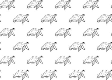 Seamless pattern of black outline hand-drawn stylized turtles ornament on a white background. Reptile animals with shell for fabric, clothing, paper. Vector. 일러스트