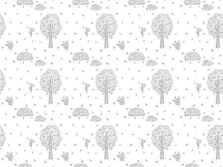 Black and white hand-drawn seamless pattern on the theme of the park, forest and nature. Stylized contour trees, bushes, flowers, clouds and leaves in the Scandinavian style. Endless texture. Vector. 일러스트