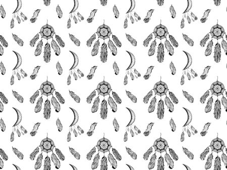 Seamless pattern of black contour dream catchers and crescents with hanging bird feathers and magic crystals in a hand-drawn style on a white background. Vector.
