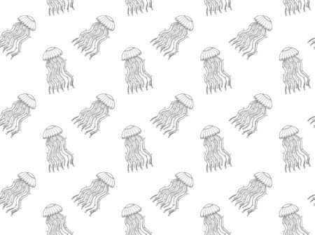 Seamless pattern of black outline meditative jellyfish with lace ornament style on a white background. 일러스트
