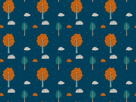 A seamless pattern of hand-drawn ornamental trees, leaves and clouds in orange, green and beige on a dark blue background. Endless forest natural children's texture in Scandinavian style. Vector. 일러스트