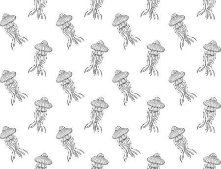 Seamless pattern of hand-drawn contour jellyfish