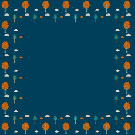 A square frame of hand-drawn isolated ornamental trees, leaves, and a cloud in orange, green, beige on a dark blue background. Forest natural children's template for text and graphic design. Vector.