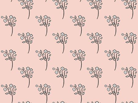 Seamless pattern of black and white stylized forget-me-not with blossoming buds and leaves on a soft pink background. Texture of beautiful flowering garden and wild flower. Floral doodles. Vector.