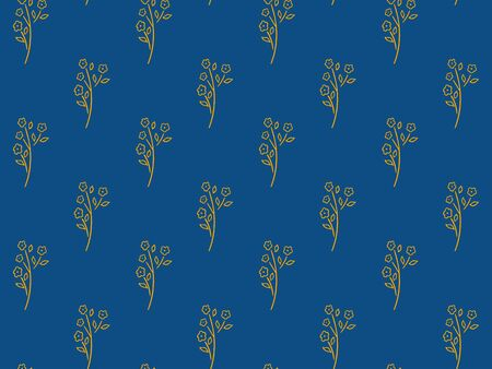 Seamless pattern of yellow abstract flower branch with blooming buds and leaves on a classic blue background. Cute scandinavian style. Spring and summer endless ornament. Hand drawing. Vector. 일러스트
