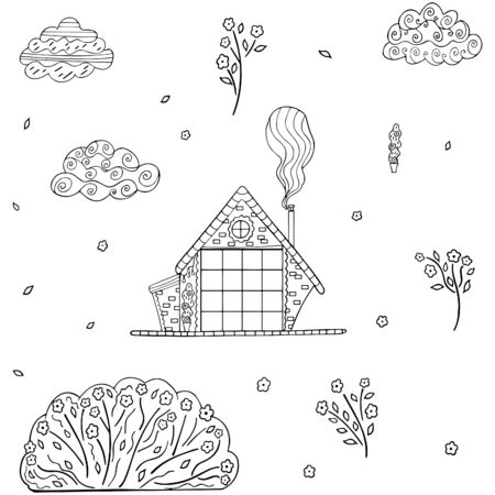 Black and white hand-drawn set in Scandinavian style from a rustic house with smoke from a chimney, potted plant, clouds, bush, flowers, leaves, buds. Isolated clip art of monochrome doodles. Vector.